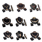 Women Necklace Earrings Set Charm Crystal Gold Plated Wedding Party Jewelry Set