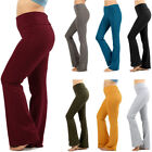 Women Plus Size Stretch Cotton Yoga Pants Workout Gym Solid