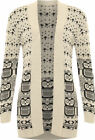 Women's Ladies Owl Print Casual Knitted Cardigan