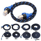 0.5-20m Cat7 Ethernet Cable Lan Flat Network RJ45 Patch Cable For PC Laptop Lot