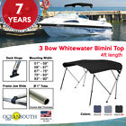BIMINI TOP 3 Bow Boat Cover Black With Rear Poles & Integrated Cover