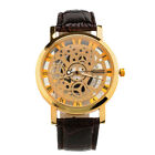 Luxury Skeleton Design Mens Leather Band Stainless Steel Dial Wrist Watch