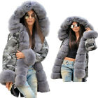 Winter Jacket Luxury Artificial Fur Thick Overcoat Camouflage Long Female Parka