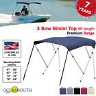 BIMINI TOP PREMIUM RANGE 3 Bow Boat Cover 6ft Long With Rear Poles