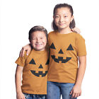 Childrens Halloween Pumpkin Face T Shirt Orange Boys Girls Fancy dress Spice