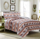 Full, Queen or King Quilt Set Elephant Boho Mandala Coverlet Orange Coral Gray