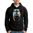 Pug DJ Wearing Sunglasses Headphones Music Animal Lover Hooded Sweatshirt Hoodie