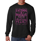 Tattoos & Whiskey Make Me Frisky Neon Funny Long Sleeve T-Shirt Tee