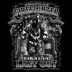 American Firefighter USA First In Last Out Patriotic T-Shirt Tee image