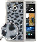 Grey Leopard Pattern Diamond Encrusted Skin Plating Plastic Case for HTC On