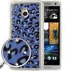 Blue Leopard Pattern Diamond Encrusted Skin Plating Plastic Case for HTC On