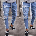 Men's Boy's Skinny Runway Straight Denim Pants Destroyed Ripped Jeans Trousers