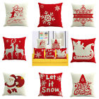 Christmas Xmas Linen Cushion Cover Throw Pillow Case Home Decor Festive Gift image