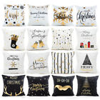 Внешний вид - Merry Christmas 2018 Pillow Cases Bronzing Cushion Cover Throw Xmas Gift Decor