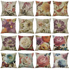 Retro flower Linen Pillow Case Waist Throw Cushion Cover Sofa Home Decor 18