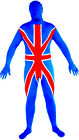 England Union Jack Flag Zentai English Second Skin Lycra Suit Costume All Sizes