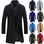 New Winter Men's Woolen Casual Trench Coat Windbreaker Overcoat Long Jacket