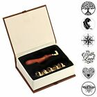 Wax Seal Stamp Set, 6 Pieces Sealing Wax Stamps Copper Seals+1 Piece Wooden Hilt