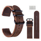 18 20 22 24mm 3 Ring Genuine Leather Watch Band Military Sport Belt Wrist Strap image