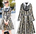 Halloween runway Lapel neck Long sleeves Zipper Bow Button Panelled dress