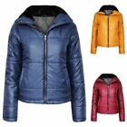 Ladies Quilted Padded Zip Womens Faux Fur Collar Puffer Jacket Top
