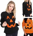 New Ladies Womens Knitted Long Sleeve Pumpkin Halloween Jumper Top Sweater