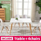 Rectangle Round Dining Table And 4 Chairs Set Eiffel Wood Style White Black Oak