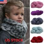 Kids Soft Warm Handmade Chunky Knit Blanket Thick Yarn Wool Bulky Knitted Throw image