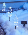 Внешний вид - Set of 3 Solar LED Lighted Holiday Spiral Tree Yard Stakes White or Multicolored