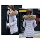 Winter Women's Hooded Down Jacket Long Cotton Parka Coat Overcoat Fur Collar New