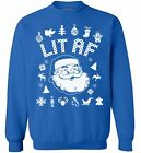 Lit AF Sweatshirt Lit Ugly Christmas Sweater Funny Drinking Gifts for Christmas