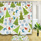 Christmas Trees Snowflake and Snowman Bathroom Fabric Shower Curtain & 12 Hooks