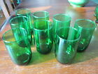 LOT of 8 roly-poly tumblers: Vintage FOREST GREEN : Anchor Hocking: excellent!