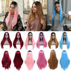 Women Straight Long Wig Ombre Wine Red Pink Blonde Linen Hair Cosplay Sexy Wigs
