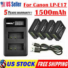 LP-E17 Battery LCD USB Dual Charger For Canon EOS 200D M3 M6 750D 760D T6i 800D