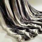 Charcoal Rabbit Faux Fur Throw Super Soft Plush Blanket Warm Bed Double King
