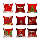 Внешний вид - Red Square Flax Pillowcase Santa Elk Pattern Pillow Case Christmas Home Decor