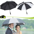 Heavy Duty 5 ft Golf Umbrella Black/White Polyester Fabric Straight Grip Handle