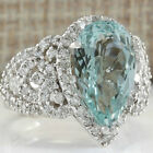 925 Sterling Silver Aquamarine Gemstone Ring Fashion Women Wedding Jewelry Size