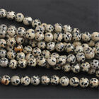 4 6 8 10mm Wholesale Natural Stone Dalmation Spot Round Spacer Loose Beads Stone