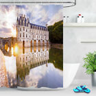Bathroom Home Decor Waterproof Fabric Lake Church Scenery Shower Curtain 12Hooks