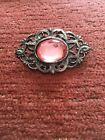 Lovely Vintage Filigree Open Work Elegant Silver Metal Pin Brooch Large Pink Gem