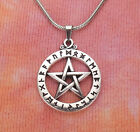 Pentacle in Circle of Runes Necklace, Pentagram Star Pagan Wiccan Viking Futhark photo