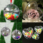 Usstock Christmas Tree Decoration Clear Plastic Balls Heart Open Bauble Ornament