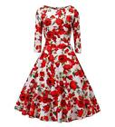 V fashion Women's 1950's Long Sleeves Vintage Floral Swing Party Dress Spring