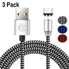 3 Pack Magnetic Micro USB Type C IOS Fast Charger Cable For Android Phone Lot US