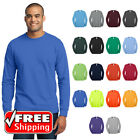 Mens TALL LONG SLEEVE T-SHIRT 50/50 Blend Comfort Durable Soft Blank Tee PC55LST