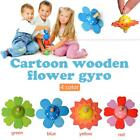 Wooden Flower Spinning Tops Toy Creative Wood Craft Gift Gyro Kids Toys 4 Colors