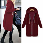 Women Hooded Sweatshirt Long Jacket Coat Zipper Outwear Casual Tops Warm Comfy