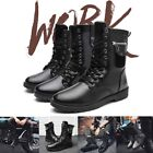 Mens Vintage Ankle Combat Motorcycle Boots Martin Sheos High Tops Lace Up PU